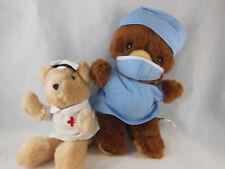 "Russ Berrie Teddy Bears 1983 Dr. 9.5"" & Nurse 8"" Plush Dolls made in Usa & Korea"