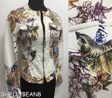 ROBERTO JUST CAVALLI Moto JACKET Coat ZIP Front BIRD BUTTERFLY Print XS KiLLER!