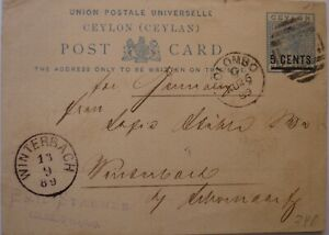1889: 5 cents on 5 cents blue Postcard: Colombo to Winterbach.