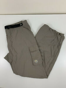 Mountain Hardwear Grey Nylon Cargo Hiking Pants Mens Size M Medium Belted USED