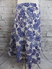 "PER UNA lined skirt Size 10 R waist 30""  blue white floral Marks and Spencer"
