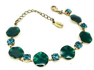 Classic Pilgrim Green Enamel, Blue Bead Bracelet