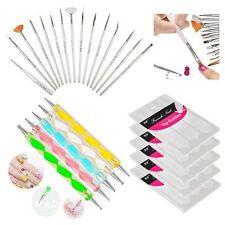 20pcs Nail Art Dotting Drawing Brush Pen + 5x French Nail Art Tips Guide Sticker