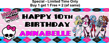 Personalised GIRL Child, any name, age Birthday Party Banner, Monster High Theme