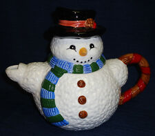 Snowman handpainted ceramic Teapot w/box Christmas