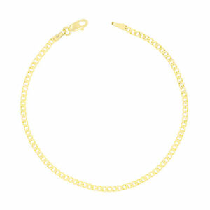 "Womens 10K Real Yellow Gold 2.5mm Curb Cuban Link Chain Bracelet Anklet 7"" 8"" 9"""