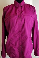 Columbia Womens M Vented Long Sleeve Outdoor Button Front Mesh insert Purple-C18