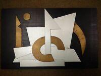 Rare Marcel Janco Iancu grande composition abstraite signée tableau métal Dada