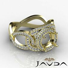 Unique Diamond Engagement Round Semi Mount Designer Ring 14k Yellow Gold 1.3Ct
