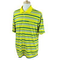 Adidas Golf Men's Climalite Hawk's Tail Logo Yellow Stripe Polo Shirt XL