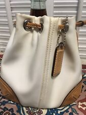 Coach Beige Whiskey Brown Leather Trim Drawstring Pouch Wristlet Bag Small