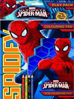 Marvel Ultimate Spiderman Play Pack Colouring Pad Pencils Childrens Activity Set