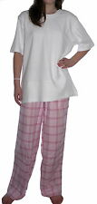 Dog Tired 100% Organic Cotton Pink Check Pyjama Bottoms And White Slouch Top NWT