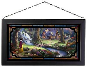Thomas Kinkade Snow White Discovers the Cottage 13 x 23 Framed Stained Glass