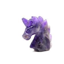 """2""""  Amethyst Crystal Unicorn Horse Head Crafts Fengshui Spirit Decor"""