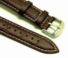 20mm Brown Quality Leather White Stitched Watch Band Alligator Grain Fits All 20