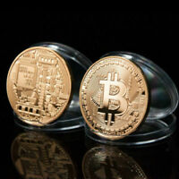 Gold Plated Physical Bitcoins Casascius Bit Coin BTC With Case Gift Coins Toy