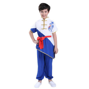 Kids Adults Boys Martial Arts Kung Fu Uniform Wushu Tai Chi Suit Color Contrast