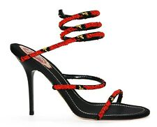 New Rene Caovilla Beaded Ankle-Wrap Black Red Shoes Sandals It. 39 - US 9