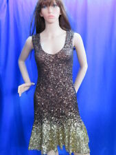 "Brown and gold  sequin party/special occasion evening dress Size Small (32"")"