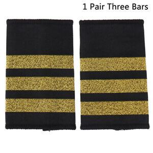 1Pair Epaulettes Pilot Shirt Uniform Epaulets with Gold Stripe Shoulder Bad_CI