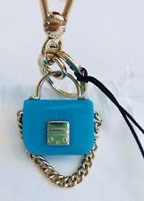 Furla Mini Turquoise Gold Tone Handbag Keyring Brand New with Tags