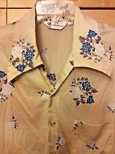 Vintage 70's Mr. California Disco Men's Beige & Blue Floral Short Sleeve Shirt L
