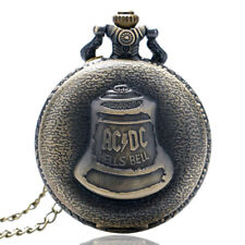 Steampunk Hells Bell Men Women ACDC Analog Pocket Watch Bronze Chain Xmas Gift