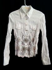 Biba Women's White Crinkled Embroidered Beaded Flower Button Front Shirt GB 8