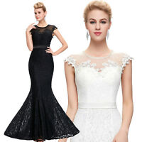 New Black/White Sexy Long Mermaid Evening Gown Formal Prom Wedding Party Dress