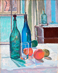 Blue and Green Bottles and Oranges by Spencer Frederick Gore 75cm x 60cm Canvas