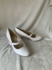 Ajvani White Button Up Character Shoes Stage Performance Dance Dancing - Size 8