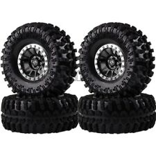 "4PCS BLACK-SILVER Aluminum 2.2"" Beadlock Wheels & TIRES FOR RC 1/10 Rock Crawler"