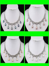 4 PCs Black Pink White Purple Pearl Necklace
