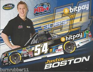 "2015 JUSTIN BOSTON ""BIT PAY"" KYLE BUSCH MOTORSPORTS #54 NASCAR CWTS POSTCARD"
