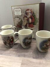 Pottery Barn Set of 4 Nostalgic Santa Christmas Mugs Grandes Tases