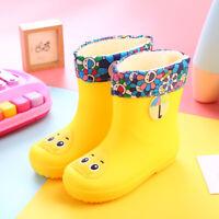 Kids Rain Boots W/Liner Waterproof Toddler Girls Boys Cartoon Yellow Size 1.