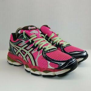 ASICS Gel Nimbus16 Running Shoes Womens Size 7.5 M Pink Green T485N