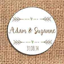 Wedding favour stickers save the date personalised  120 rustic shabby chic