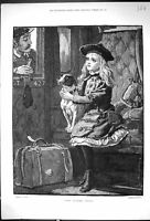Old Print 1882 Dog Ticket Miss Young Girl Railway Train Ticket Inspector 19th