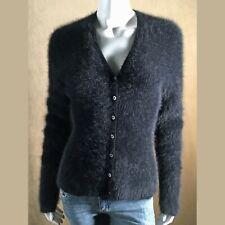 "Fuzzy 61% Angora Sweater Ralph Lauren Black V-Neck Long-Sleeve Cardigan 33""-Bust"