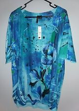 NEW $48 New Directions Women's 2X Blouse Turquoise Multi-Color Floral Embellish