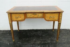 French Leather Top Inlay Rosewood Pegasus Brass Bronze Accent Desk 2298