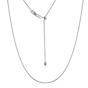 """Adjustable 1mm Spiga Wheat Chain Necklace, Adjusts to 22"""" - 925 Sterling Silver"""
