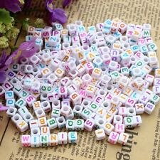 50pcs Lots Mixed Colorful Alphabet Letters Acrylic Cube Beads 6x6mm