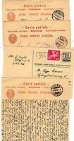 1888 x 4 & 1 1966 SWITZERLAND POSTAL STATIONERY CARDS ALL USED TO DENMARK