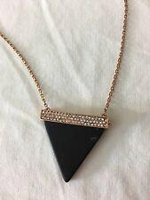 NWT Michael Kors MKJ4414 Rose Gold Black Onyx Triangle Pendant Necklace