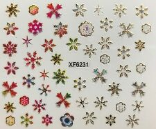 Nail Art 3D Decal Stickers Iridescent Mosaic Snowflakes XF6231