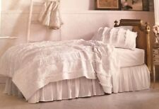 Rachel Ashwell TWIN White Ruffled Quilt Simply Shabby Chic Quilt Coverlet  NEW