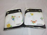 Vtg NOS Style House Double Flat & Fitted Sheet Flowers Primary Colors Percale
